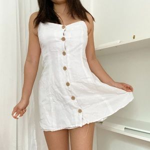 UO Linen Dress with Wooden Detail Buttons